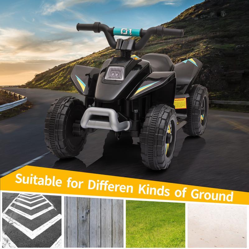 6V Electric Ride on Quad ATV For Kids, Black 6v kids 4 wheeler quad ride on atv black 16 1