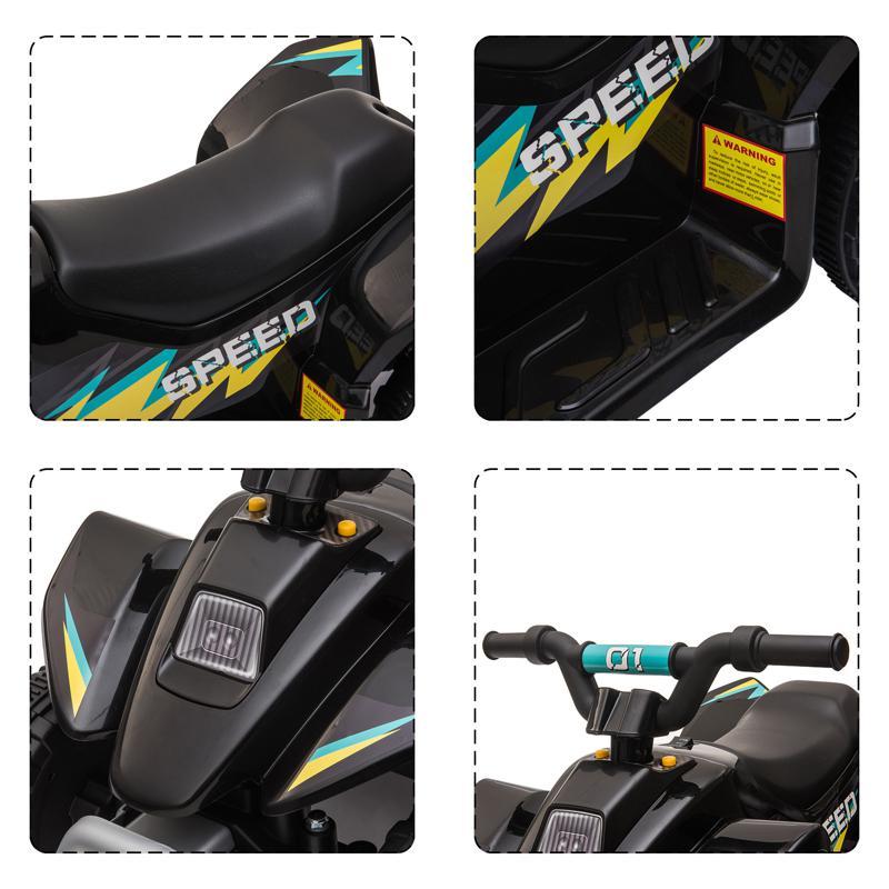 6V Electric Ride on Quad ATV For Kids, Black 6v kids 4 wheeler quad ride on atv black 23 1
