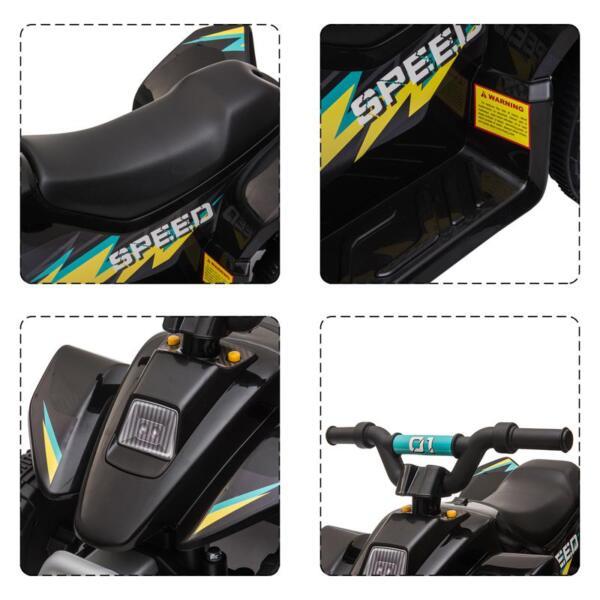 6V Electric Ride on Quad ATV For Kids, Black 6v kids 4 wheeler quad ride on atv black 23