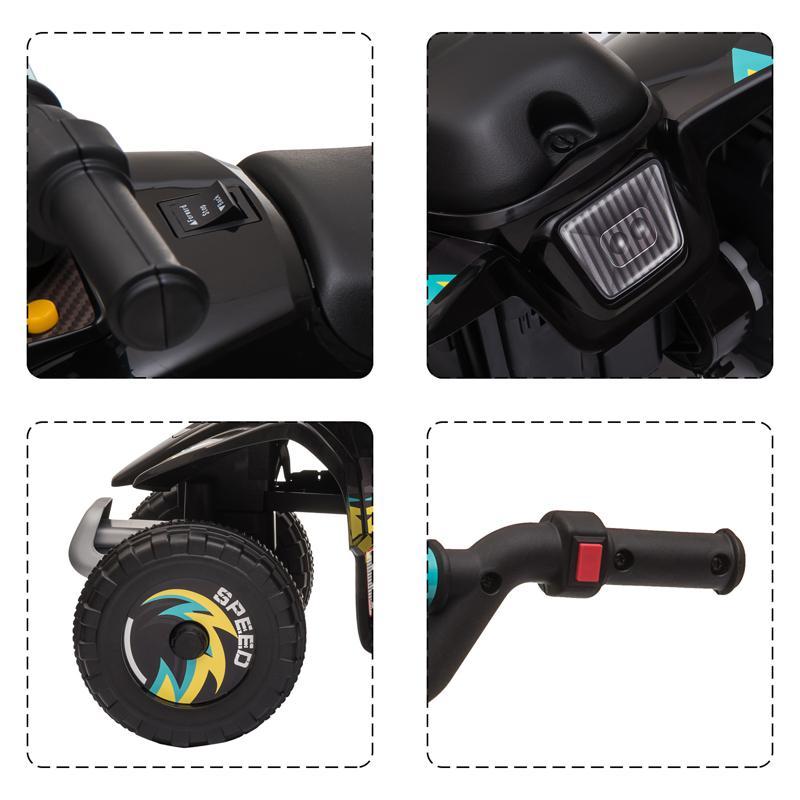 6V Electric Ride on Quad ATV For Kids, Black 6v kids 4 wheeler quad ride on atv black 24 1