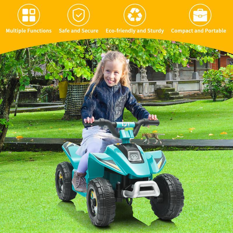 6V Electric Ride on Quad ATV For Kids, Blue 6v kids 4 wheeler quad ride on atv blue 14 2