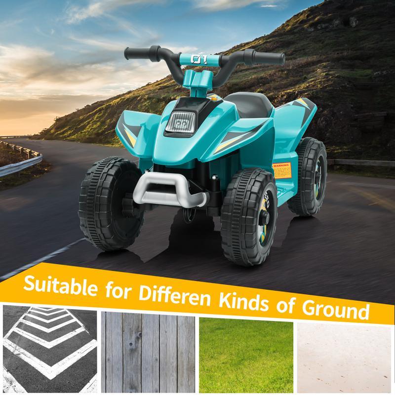 6V Electric Ride on Quad ATV For Kids, Blue 6v kids 4 wheeler quad ride on atv blue 15 2