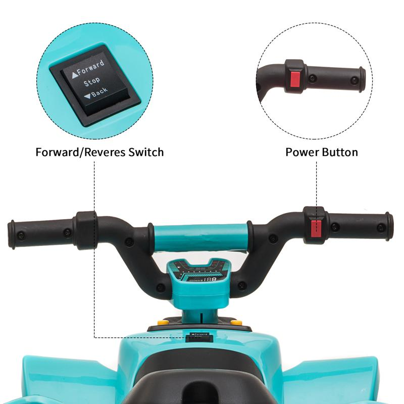 6V Electric Ride on Quad ATV For Kids, Blue 6v kids 4 wheeler quad ride on atv blue 24 2