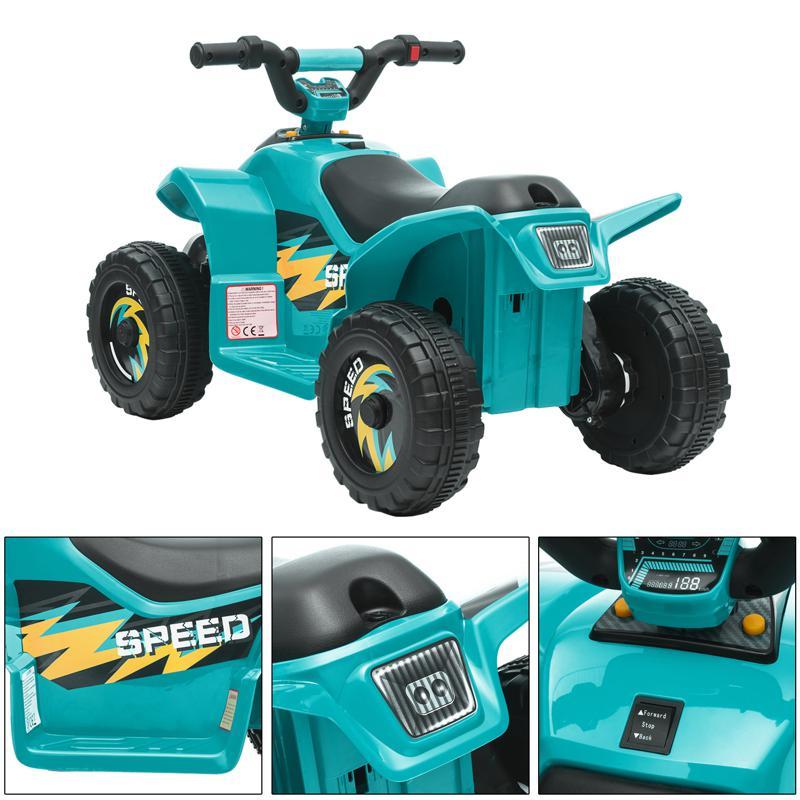 6V Electric Ride on Quad ATV For Kids, Blue 6v kids 4 wheeler quad ride on atv blue 32 1