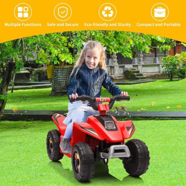 6V Electric Ride on Quad ATV For Kids, Red 6v kids 4 wheeler quad ride on atv red 14