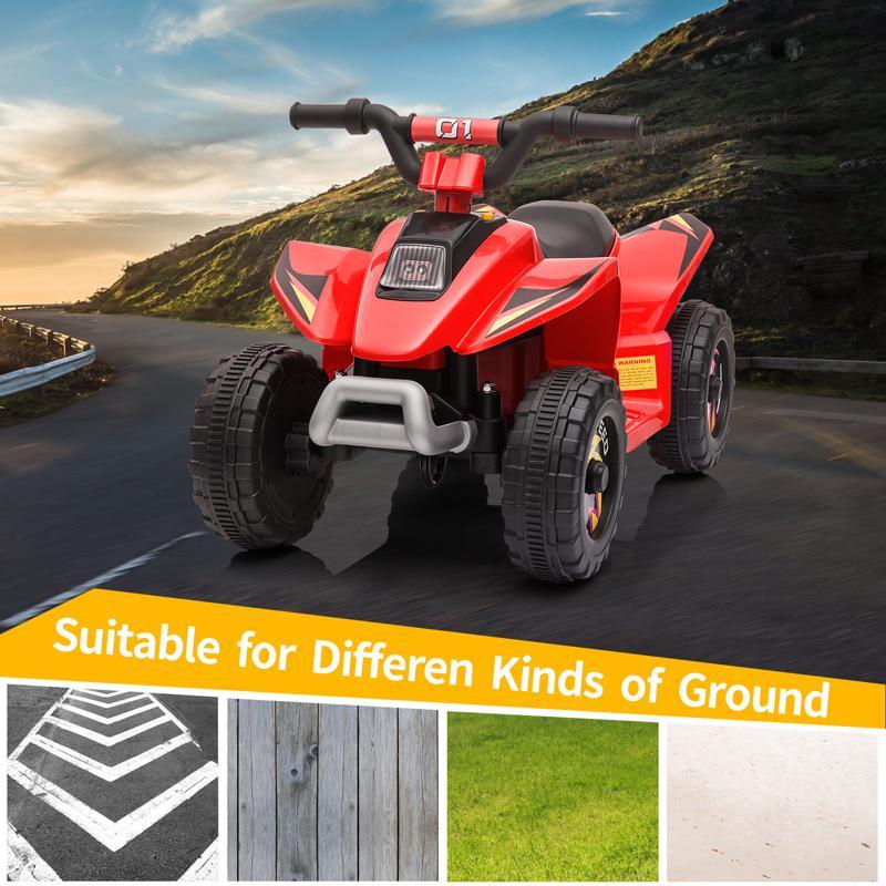 6V Electric Ride on Quad ATV For Kids, Red 6v kids 4 wheeler quad ride on atv red 15 1