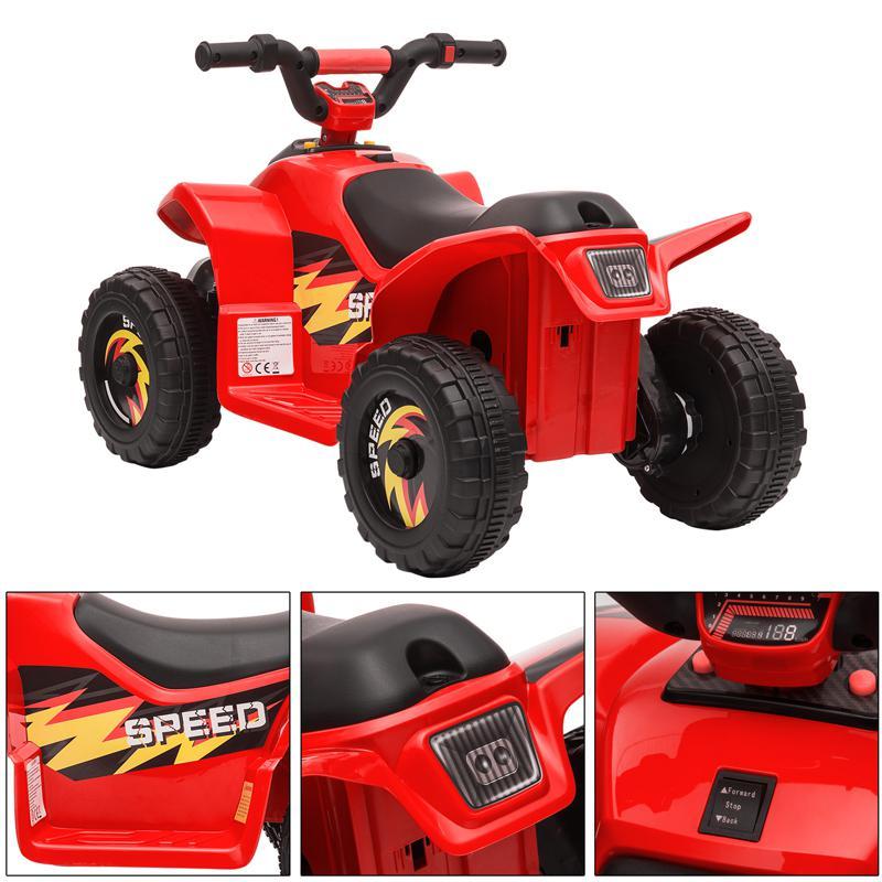 6V Electric Ride on Quad ATV For Kids, Red 6v kids 4 wheeler quad ride on atv red 32 1