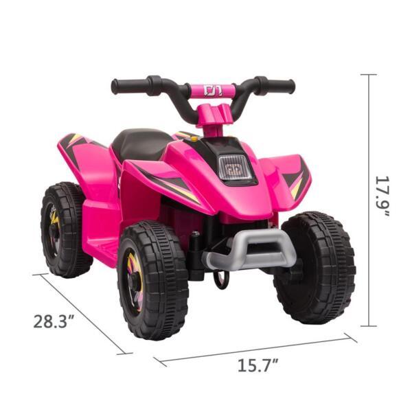 6V Kids 4-Wheeler Quad Ride on ATV, Rose Red 6v kids 4 wheeler quad ride on atv rose red 12