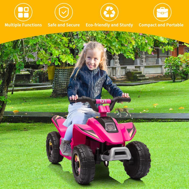 6V Electric Ride on Quad ATV For Kids, Rose Red 6v kids 4 wheeler quad ride on atv rose red 13