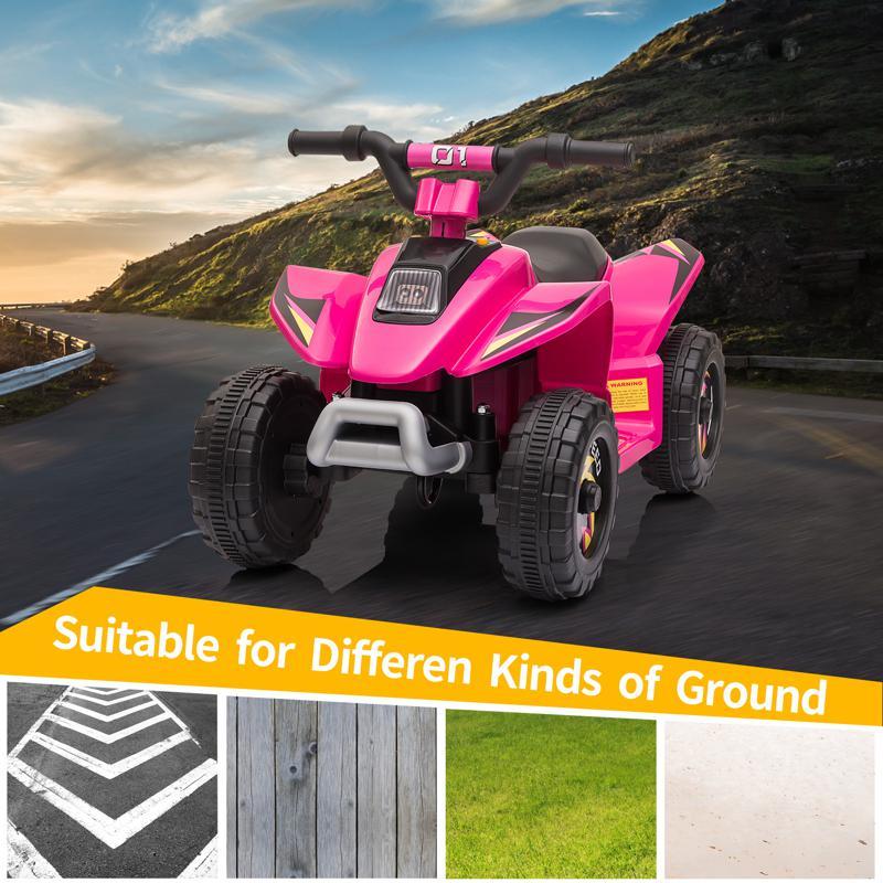 6V Electric Ride on Quad ATV For Kids, Rose Red 6v kids 4 wheeler quad ride on atv rose red 14 1