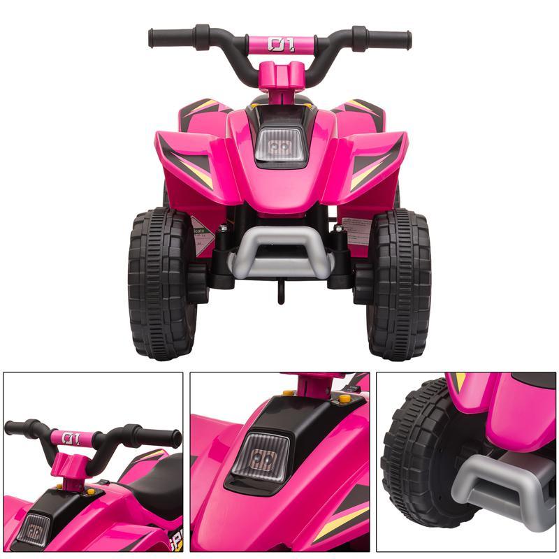 6V Electric Ride on Quad ATV For Kids, Rose Red 6v kids 4 wheeler quad ride on atv rose red 28 1