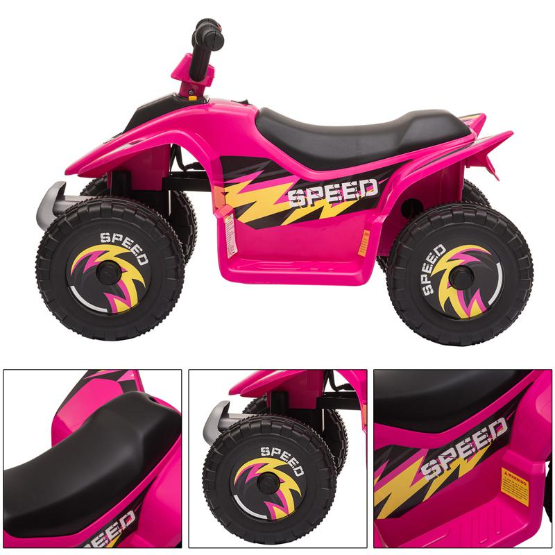 6V Electric Ride on Quad ATV For Kids, Rose Red 6v kids 4 wheeler quad ride on atv rose red 30 1