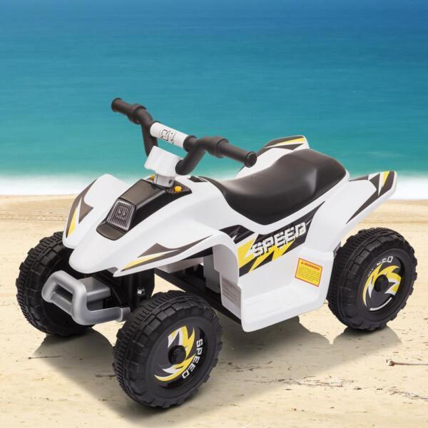 6V Electric Ride on Quad ATV For Kids, White 6v kids 4 wheeler quad ride on atv white 1