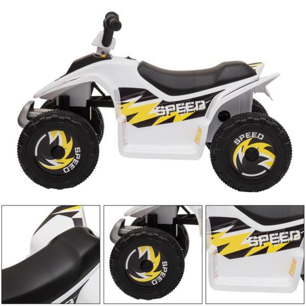 6V Electric Ride on Quad ATV For Kids, White 6v kids 4 wheeler quad ride on atv white 10