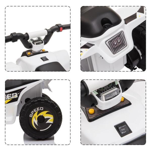 6V Electric Ride on Quad ATV For Kids, White 6v kids 4 wheeler quad ride on atv white 12