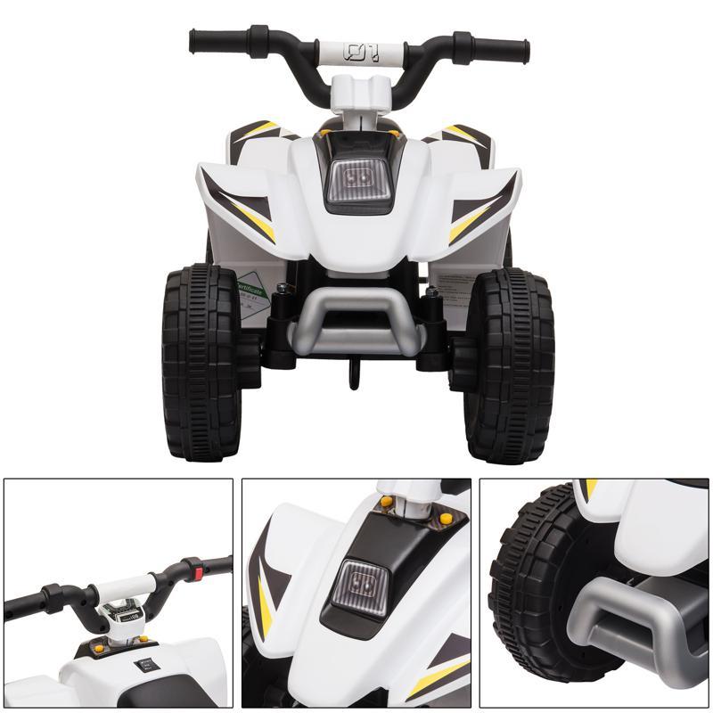 6V Electric Ride on Quad ATV For Kids, White 6v kids 4 wheeler quad ride on atv white 21 1