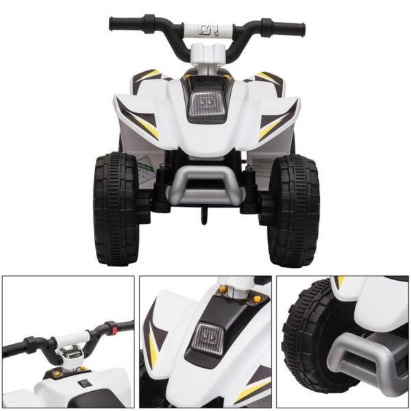 6V Electric Ride on Quad ATV For Kids, White 6v kids 4 wheeler quad ride on atv white 21