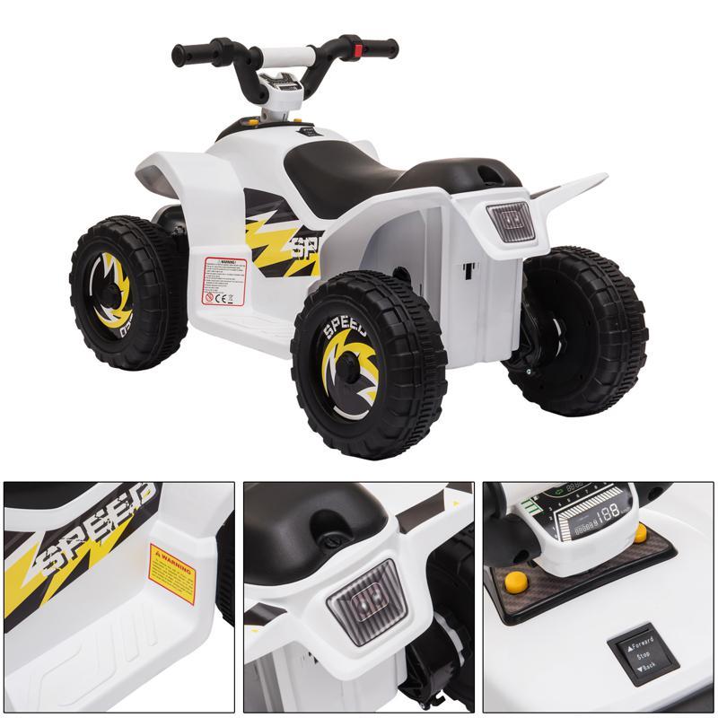 6V Electric Ride on Quad ATV For Kids, White 6v kids 4 wheeler quad ride on atv white 22