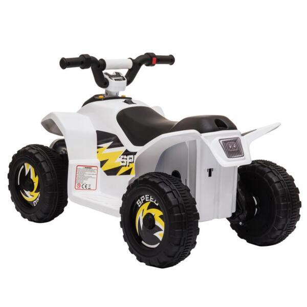 6V Electric Ride on Quad ATV For Kids, White 6v kids 4 wheeler quad ride on atv white 28