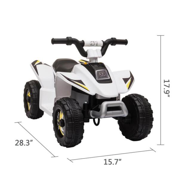 6V Electric Ride on Quad ATV For Kids, White 6v kids 4 wheeler quad ride on atv white 3