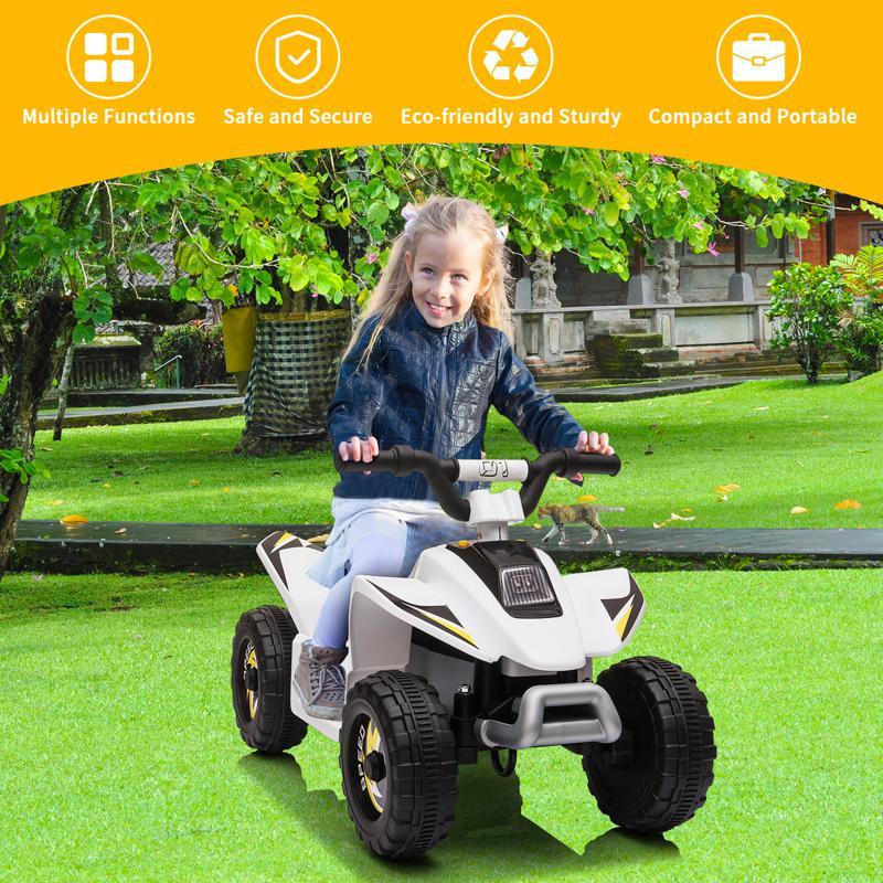 6V Electric Ride on Quad ATV For Kids, White 6v kids 4 wheeler quad ride on atv white 4 1