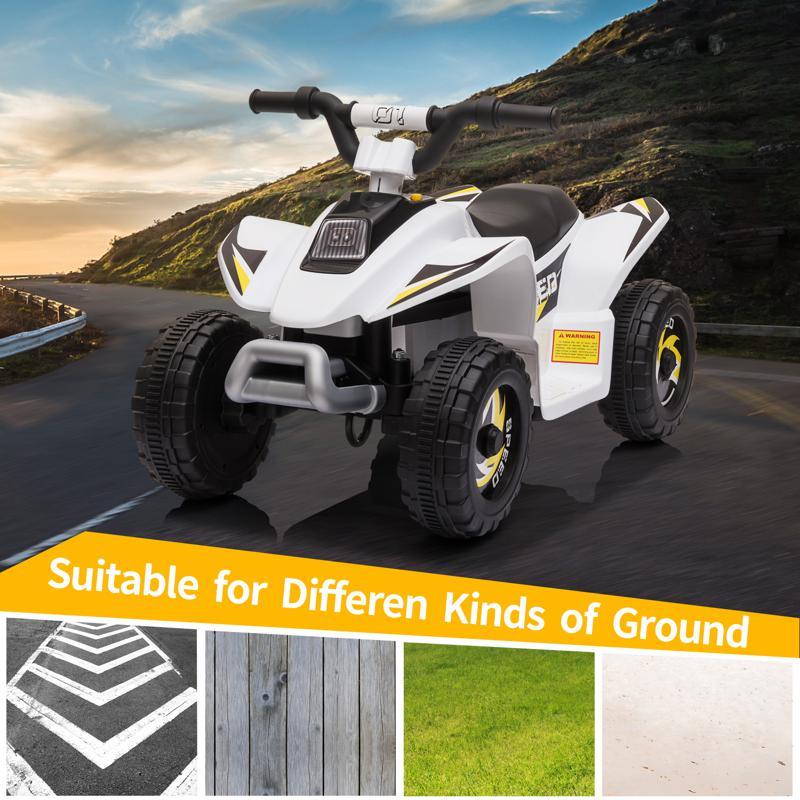 6V Electric Ride on Quad ATV For Kids, White 6v kids 4 wheeler quad ride on atv white 5 1