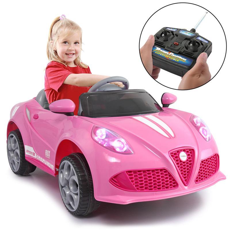 6V Kids Ride-On Car for Girl 3-8, Pink 6v kids electric car with mp3 head lights pink 12 2