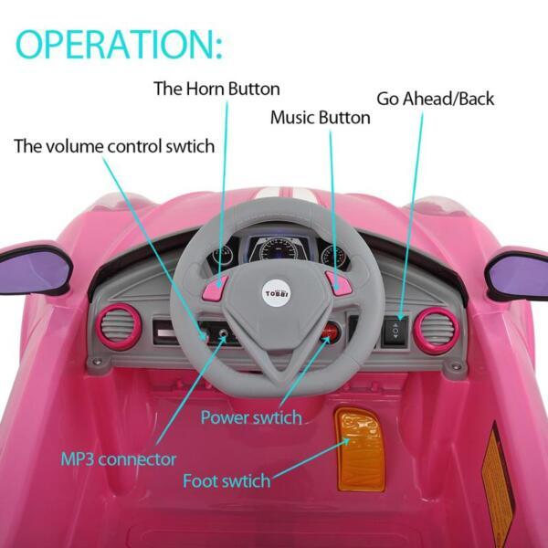 6V Kids Ride-On Car for Girl 3-8, Pink 6v kids electric car with mp3 head lights pink 23 2