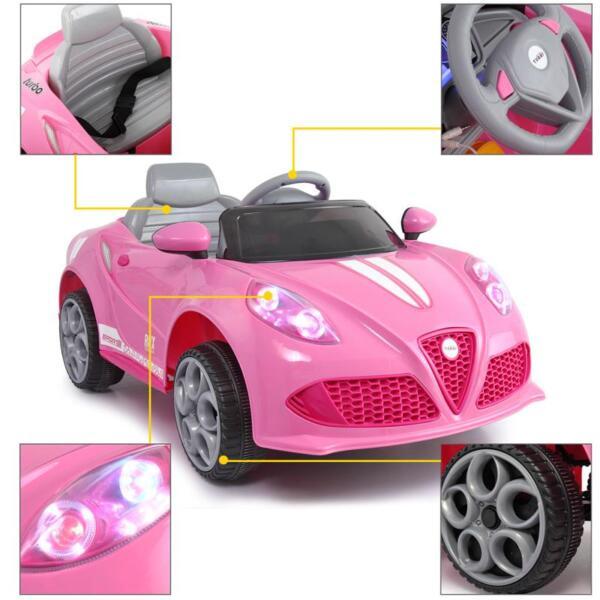 6V Kids Ride-On Car for Girl 3-8, Pink 6v kids electric car with mp3 head lights pink 24 2