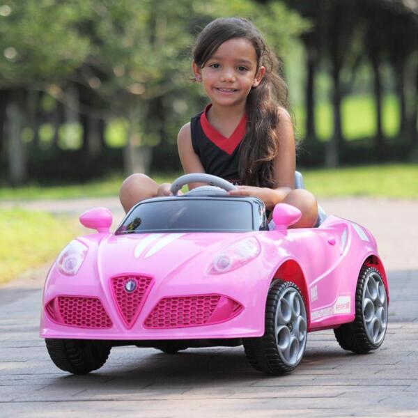 6V Kids Ride-On Car for Girl 3-8, Pink 6v kids electric car with mp3 head lights pink 46 1