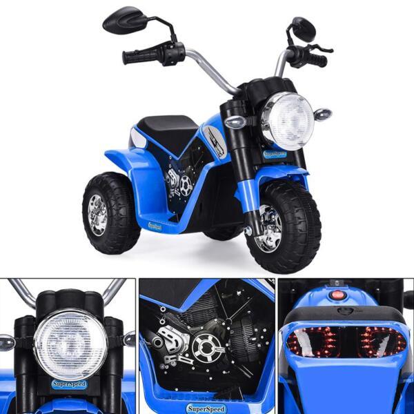 6V Kids Ride On Motorcycle 3 Wheel Bicycle, Blue 6v kids ride on motorcycle 3 wheel bicycle blue 4