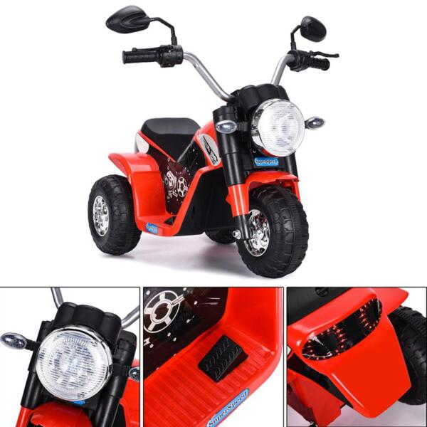 6V Kids Ride On Motorcycle 3 Wheel Bicycle, Red 6v kids ride on motorcycle 3 wheel bicycle red 3 副本