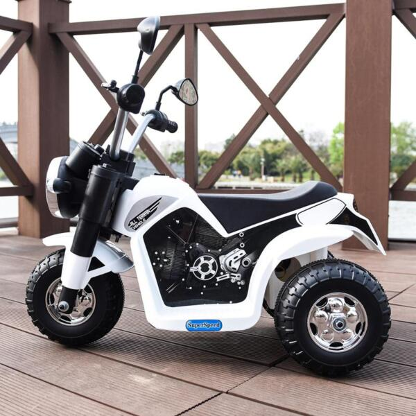 6V Kids Ride On Motorcycle 3 Wheel Bicycle, White 6v kids ride on motorcycle 3 wheel bicycle white 11 1