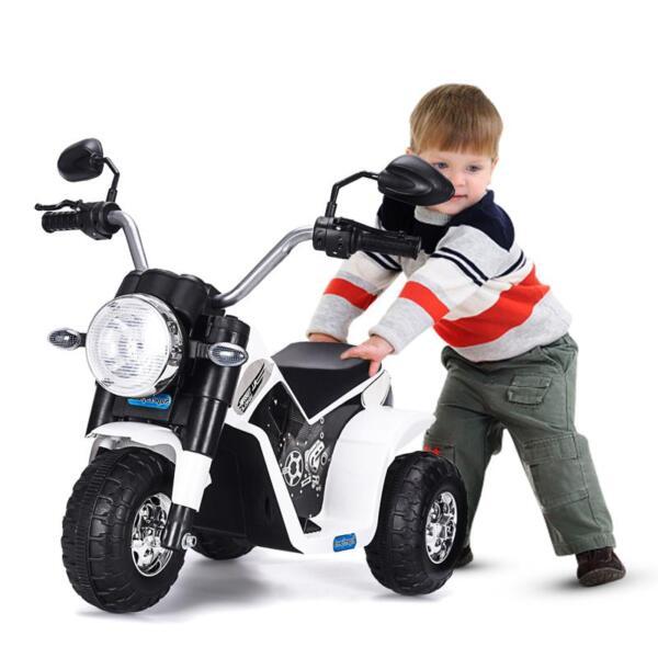 6V Kids Ride On Motorcycle 3 Wheel Bicycle, White 6v kids ride on motorcycle 3 wheel bicycle white 13 1