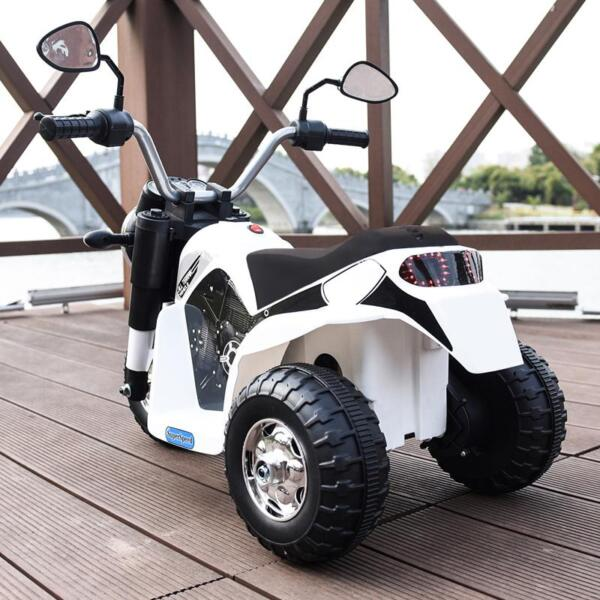 6V Kids Ride On Motorcycle 3 Wheel Bicycle, White 6v kids ride on motorcycle 3 wheel bicycle white 5 1