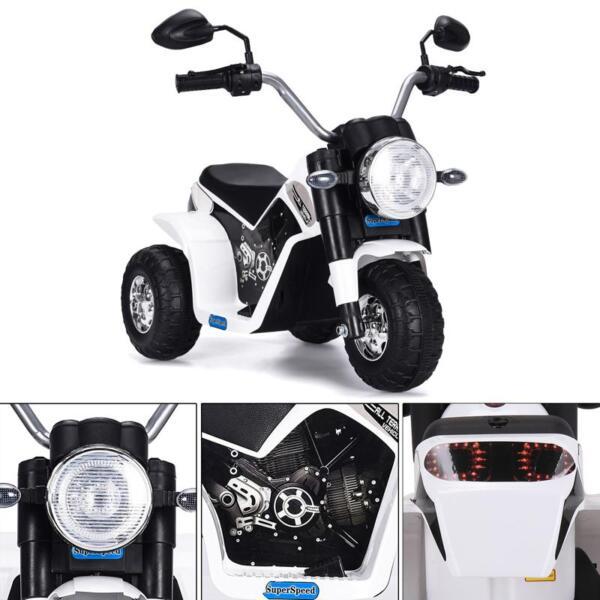 6V Kids Ride On Motorcycle 3 Wheel Bicycle, White 6v kids ride on motorcycle 3 wheel bicycle white 6