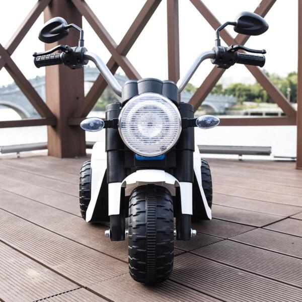 6V Kids Ride On Motorcycle 3 Wheel Bicycle, White 6v kids ride on motorcycle 3 wheel bicycle white 9 1