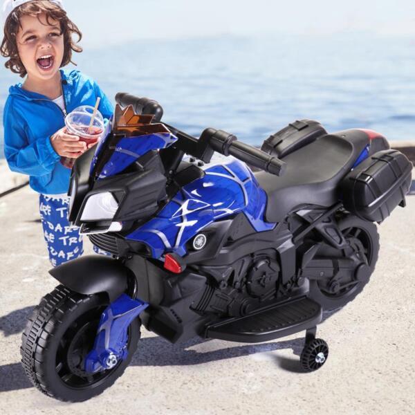 6V Kids Ride On Motorcycle, Blue 6v kids ride on motorcycle blue 13