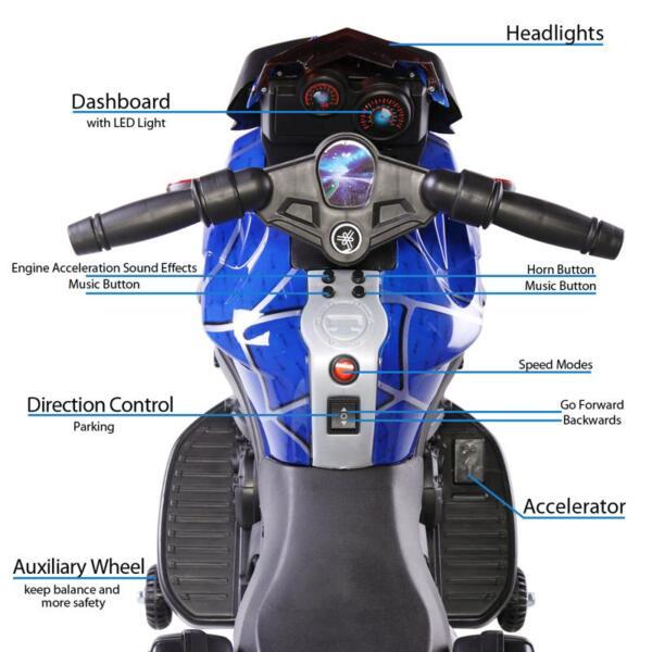 6V Kids Ride On Motorcycle, Blue 6v kids ride on motorcycle blue 15