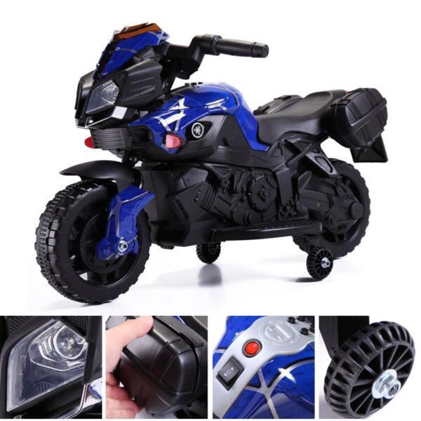 6V Kids Ride On Motorcycle, Blue 6v kids ride on motorcycle blue 16