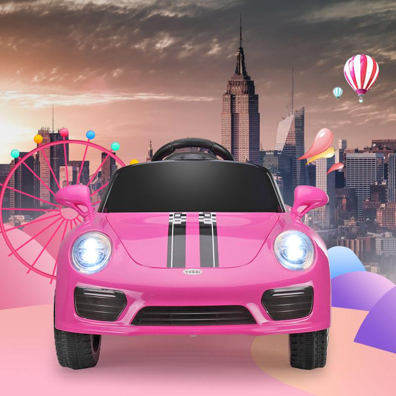 6V Pink Power Wheel Car for Kids W/ MP3 6v remote control kids ride on car with mp3 pink 24 1