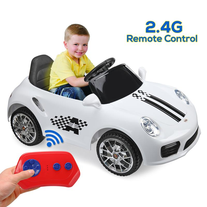 White Luxury Kids Car Powered Riding Toy 6v remote control kids ride on car with mp3 white 22 2