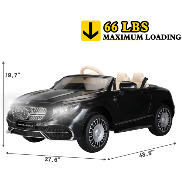 TOBBI 12V Ride on Car with Remote Control, Mercedes-Maybach S650 Electric Ride on Vehicles Cars for Kids w/ MP3 Bluetooth, Black 7 1