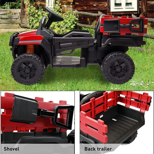 12V Electric Truck for Kids with Remote Control Ride On Toy with Trailer, Red 7 10