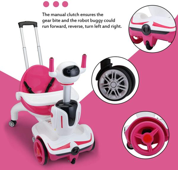 Three-in-one Robot Kids Electric Buggy With Remote Control & Baby Carriages, Rose Red + White 7 11