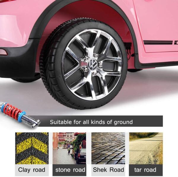 12V Licensed Volkswagen Beetle Dune Kids Electric Car with Remote Control, Pink 7 13