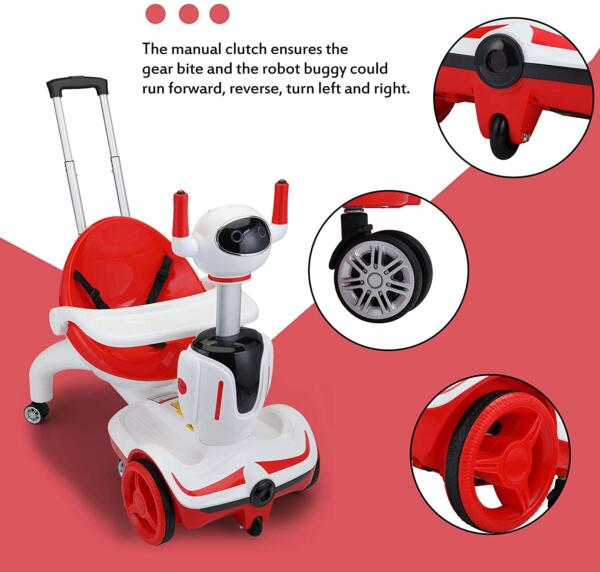 Three-in-one Robot Kids Electric Buggy With Baby Carriages, Red + White 7 2