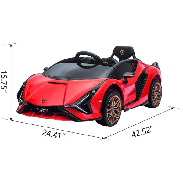 12V Lamborghini Sian Electric Kids Ride On Car with Remote Control, Red 7 2