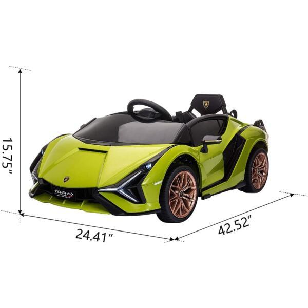 12V Licensed Lamborghini Sian Children's Electric Ride On Car, Green 7 22