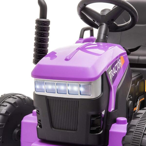 12V Battery-Powered Electric Tractor Kids Ride on Toy Gift, Purple 7 24